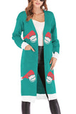 Christmas Hat Print Cardigan Open Front Light Green