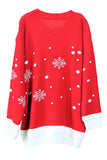 Crew Neck Snowflake Christmas Sweater Red