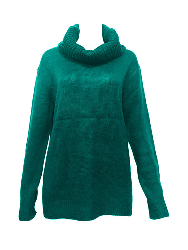 Solid High Neck Pullover Casual Sweater