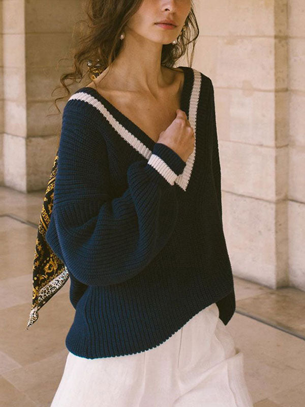 Women's Long Sleeve Striped Oversized Knit Pullover Sweater