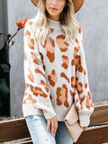 Women's Leopard Print Knit Pullover Crew Neck Sweater