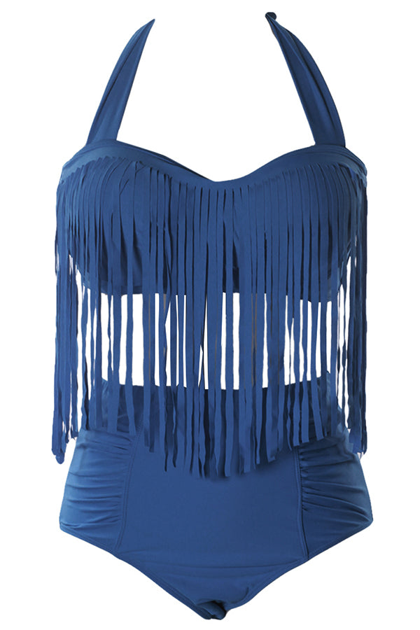 Fringe Top&High Waisted Bikini Bottoms Plus Size Swimsuit