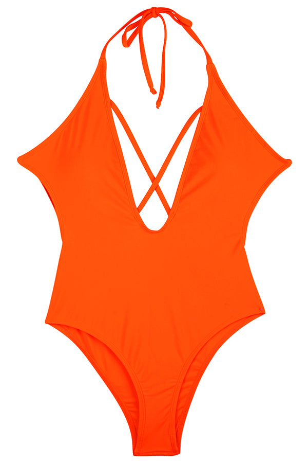 V Neck Cross Backless High Cut One-Piece Swimsuit