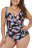 Women's Tiger Floral Print Pleated Plus Size One Piece Swimsuit