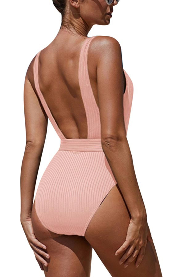 Scoop Neck Ribbed Plain Open Back One Piece Swimsuit