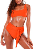 Women's Solid Sports Swimsuit Crop Top High Waist Two Piece Swimwear
