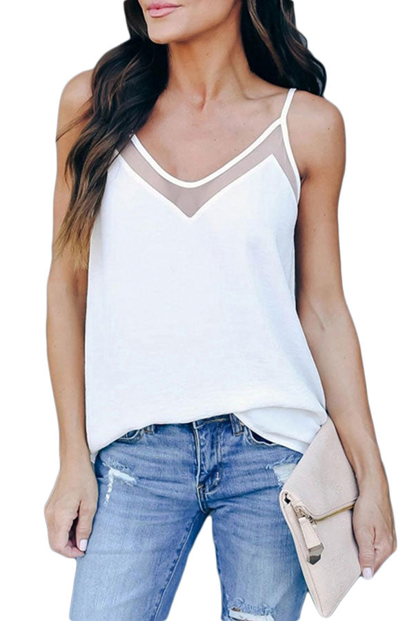 Solid Mesh Patchwork Cami Tank