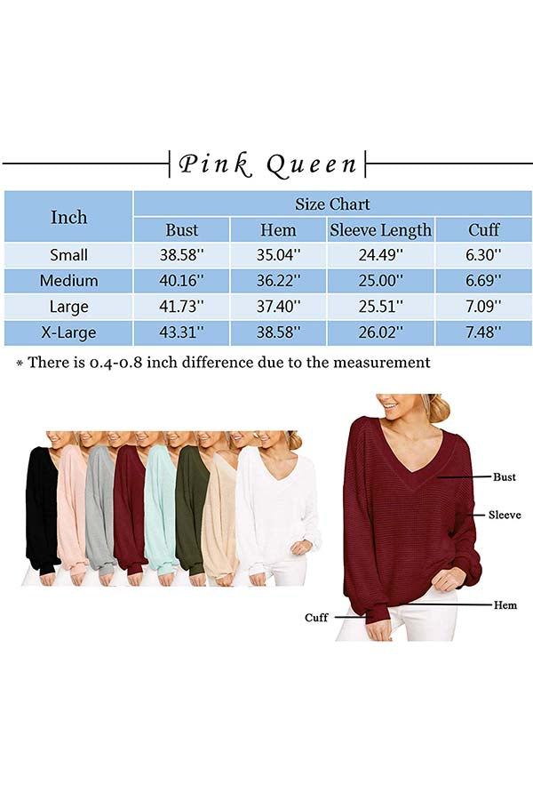 Women's Casual Waffle Knit Tops Off Shoulder V Neck Pullover Sweaters