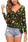 Sexy V Neck Tied Christmas Blouse Green