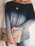 Ombre Long Sleeve Pullover Sweatshirt