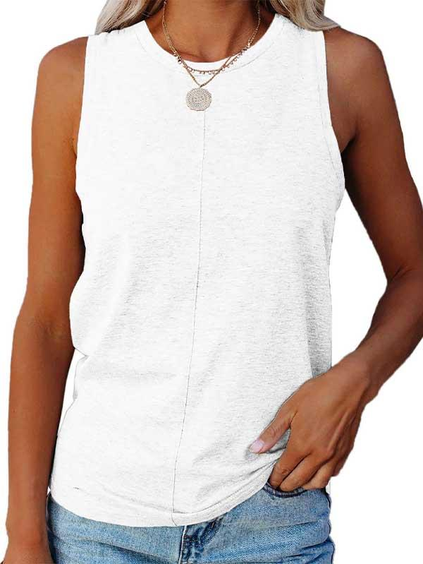 Plus Size Solid Casual Tank Top For Women