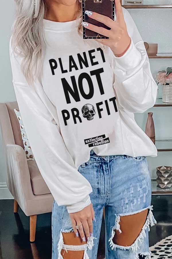 Crew Neck Planet Not Profit Sweatshirt For Women