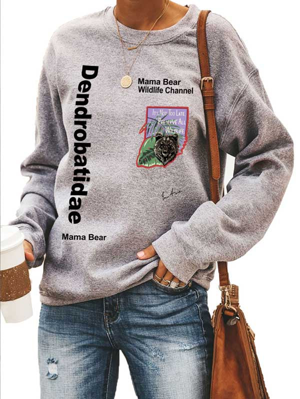 Ladies Mama Bear Grey Sweatshirt