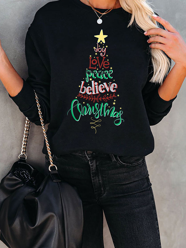 Women Christmas Letter Tree Black