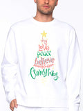 Men Christmas Letter Tree White