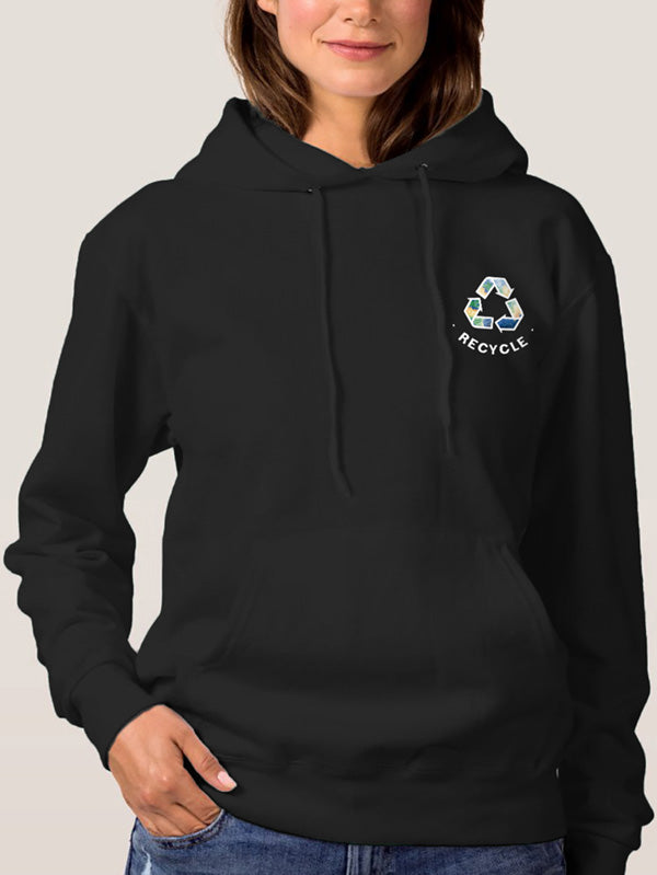 Womens Recycle Black Hoodie