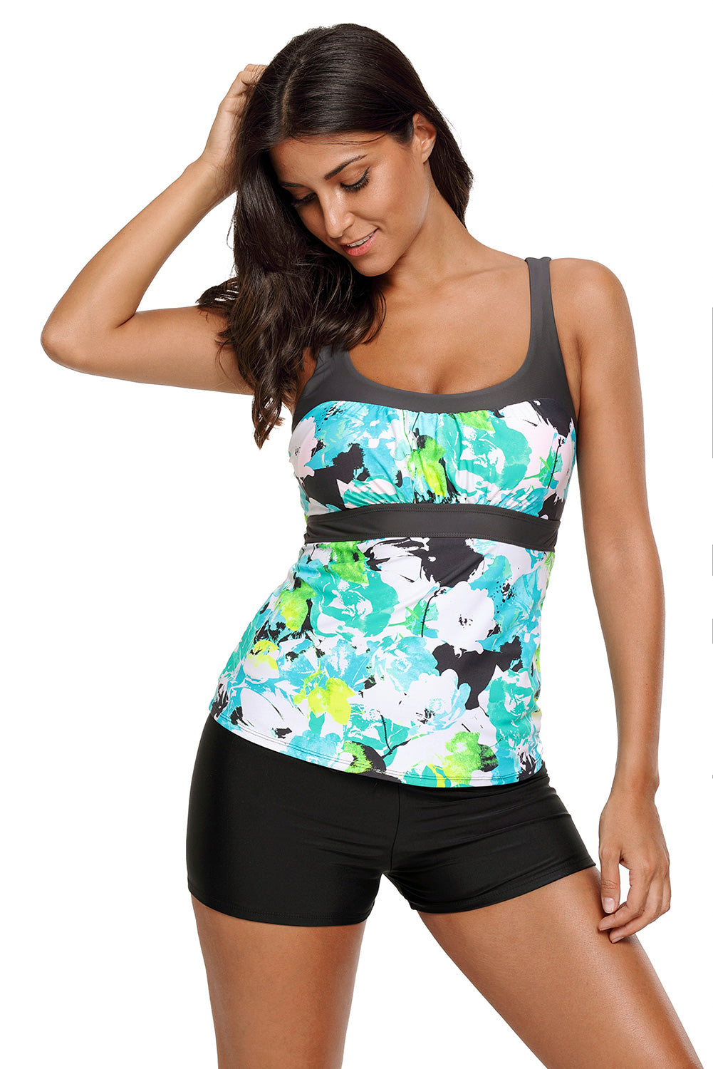 Abstract Printed Camisole Tankini Top