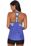 Blouson Striped Printed Strappy T-Back Push up Tankini Top