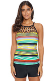 Multi Striped Bead Trim High Neck Tankini Top