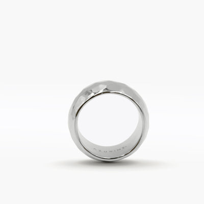 STERLING SILVER LARGE HAMMERED RING