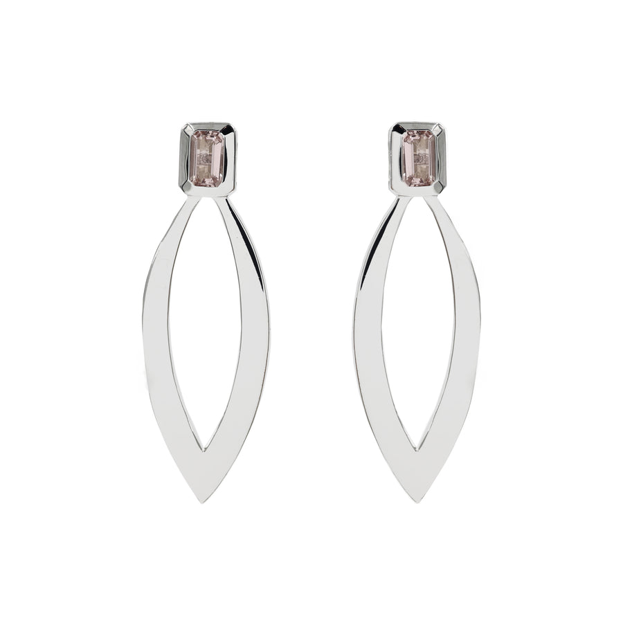 MANAL MORGANITE EARRING IN STERLING SILVER