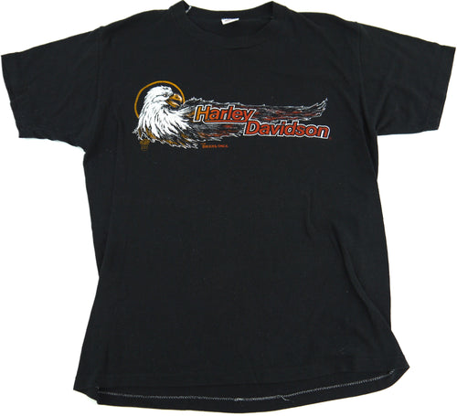 VINTAGE 80s HARLEY DAVIDSON MOTORCYCLES BIKERS ONLY T SHIRT EAGLE l