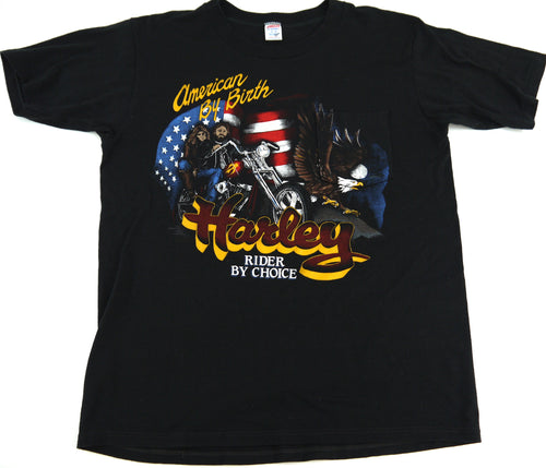 VINTAGE 80s HARLEY DAVIDSON MOTORCYCLES T SHIRT RIDER BY CHOICE XL