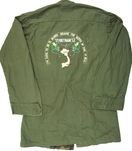 71-72 VIETNAM TOUR custom VINTAGE 70s JUNGLE JACKET poplin OG/ERDL military S