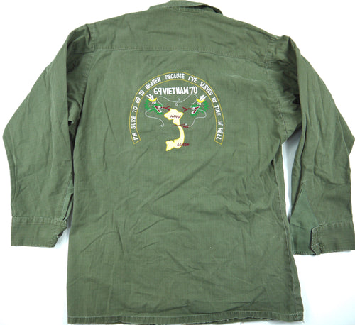 69-70 VIETNAM TOUR custom VINTAGE 60s JUNGLE JACKET poplin military S reg