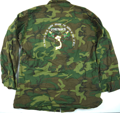 69-70 VIETNAM TOUR custom VINTAGE ERDL JUNGLE JACKET camo poplin military m