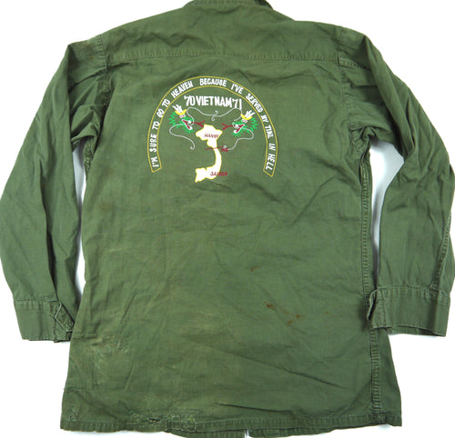 70-71 VIETNAM TOUR custom VINTAGE JUNGLE JACKET poplin military S CAPTAIN BARS