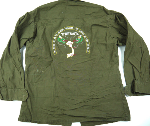 71-72 VIETNAM TOUR custom VINTAGE 70s JUNGLE JACKET poplin military M