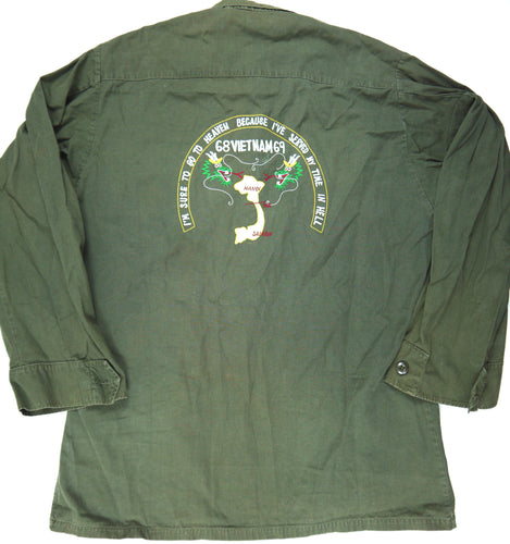 68-69 VIETNAM TOUR custom VINTAGE 60s JUNGLE JACKET poplin military army M reg