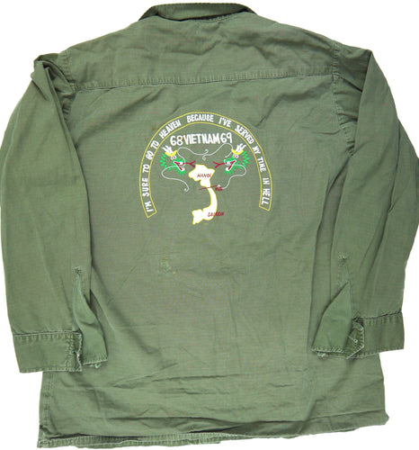 68-69 VIETNAM TOUR custom VINTAGE 60s NAMED JUNGLE JACKET poplin military M reg