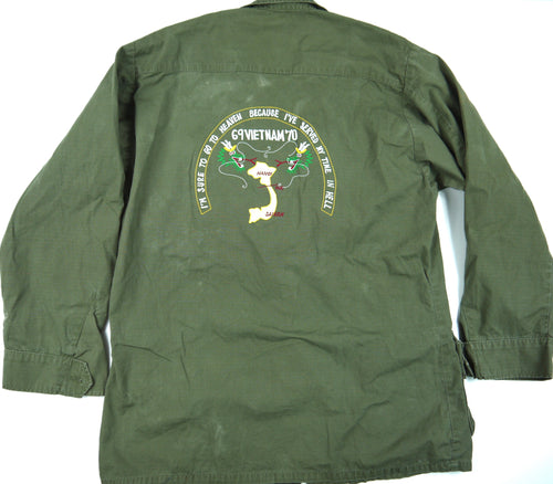 69-70 VIETNAM TOUR custom VINTAGE 60s JUNGLE JACKET poplin OG-107 military M reg