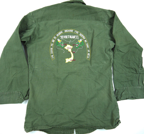 70-71 VIETNAM TOUR custom VINTAGE JUNGLE JACKET poplin OG military XS distressed fade