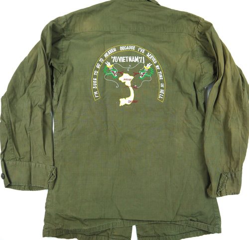 70-71 VIETNAM TOUR custom VINTAGE JUNGLE JACKET poplin OG107 military XS distressed