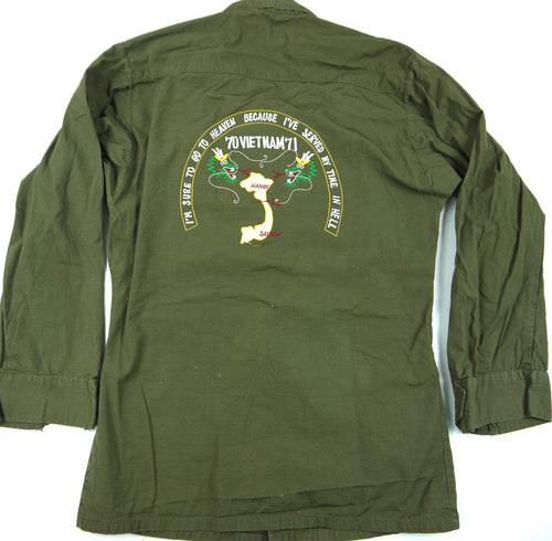 70-71 VIETNAM TOUR custom VINTAGE JUNGLE JACKET poplin OG-107 military XS reg