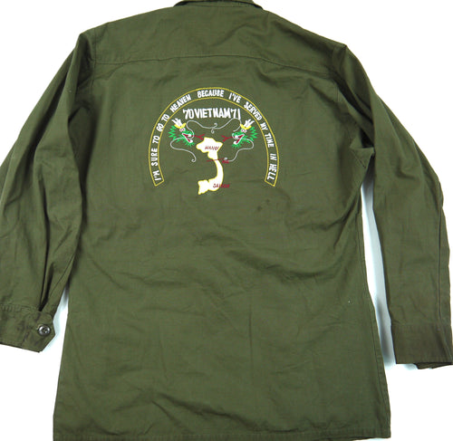 70-71 VIETNAM TOUR custom VINTAGE JUNGLE JACKET poplin OG-107 military S reg
