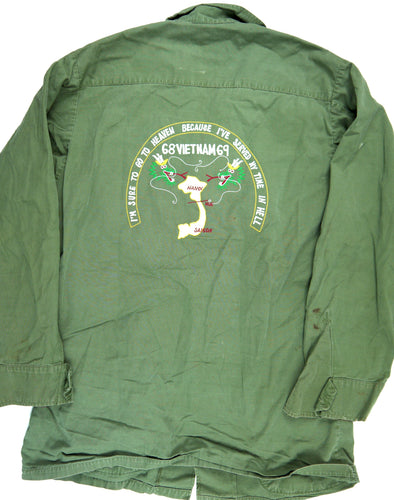 68-69 VIETNAM TOUR custom VINTAGE 60s JUNGLE JACKET poplin OG-107 military S reg