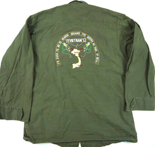 71-72 VIETNAM TOUR custom VINTAGE 70s JUNGLE JACKET poplin OG107 military S