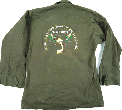 70-71 VIETNAM TOUR custom VINTAGE JUNGLE JACKET poplin army OG107 military XS reg