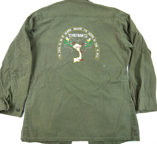 71-72 VIETNAM TOUR custom VINTAGE 70s JUNGLE JACKET poplin OG-107 military S reg