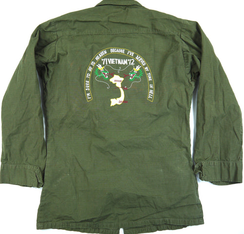 71-72 VIETNAM TOUR custom VINTAGE 70s JUNGLE JACKET poplin OG-107 military XS