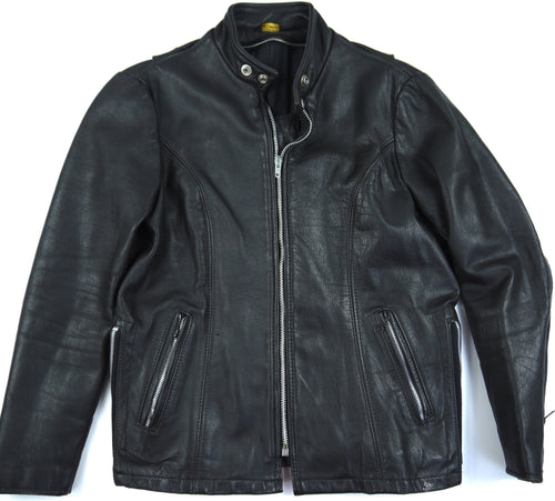 VINTAGE SCHOTT BLACK LEATHER JACKET CAFE RACER 157 80s MOTORCYCLE perfecto