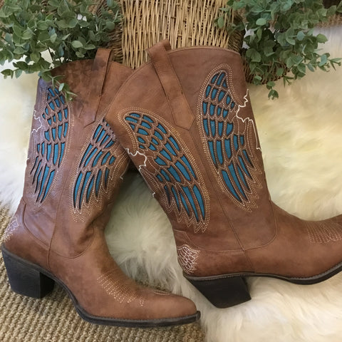 Angel Wings Leather Boots