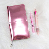 Metal Pink Foil Leather Hobonichi Weeks Cover with Jelly Pockets