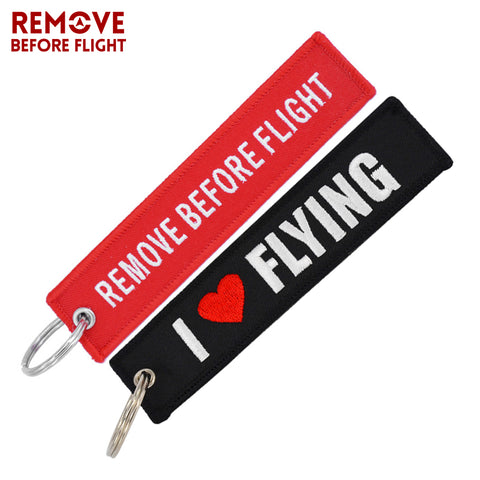 1 PC Remove Before Flight Keychain 1PC I Love Flying Bag Key Chain Charm Pendant Embroidery