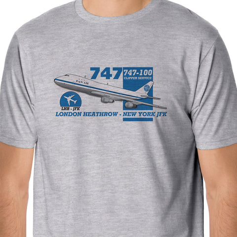 100 % Cotton T Shirt For Men Design Tops Retro Flight - Pan Am Boeing 747 Heathrow
