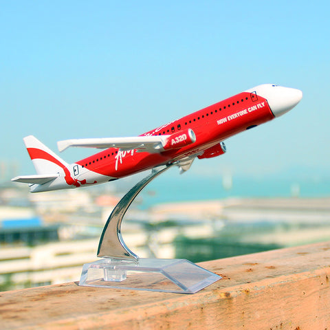 16cm AirAsia A320 Airlines Diecast Plane Model Airbus Airplane Model for gifts